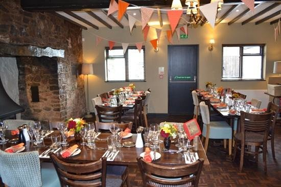 The Five Bells Inn: dining room, specially decorated for our event