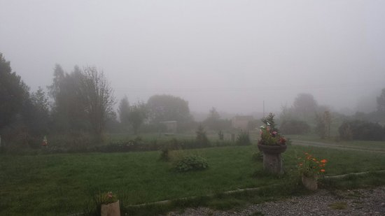 Tigh na Coin Beagan: Foggy morning view from front porch.