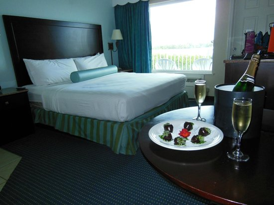 Capt Hiram's Resort: Our room with the champagne and strawberry add on