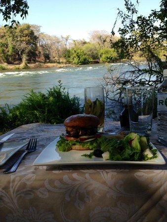 Royal Chundu Luxury Zambezi Lodges: Our barbecued burger was enjoyed with a private view of the Zambezi river!