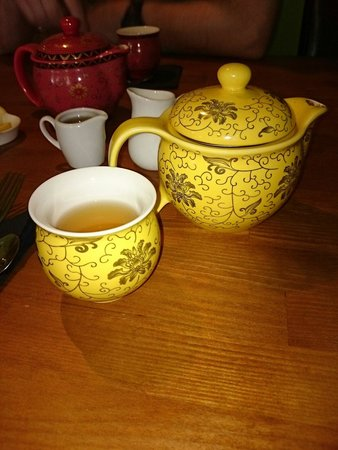 Mystery Tea House: Bora Bora tea served in this cute little teapot complete with honey and lemon.