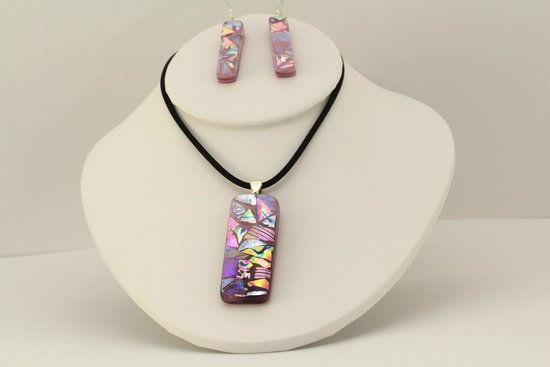 Splash of Glass : pink pendant and earrings