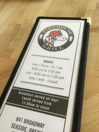 Firehouse Grill: Front of menu