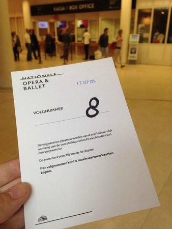 Dutch National Opera & Ballet : Такой номер вы получаете для того, чтобы купить билет за 30 минут перед спектаклем.