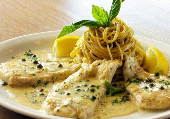 Coral Springs, FL: Chicken Piccata in a delicious piccata sauce with capers and a side of pasta