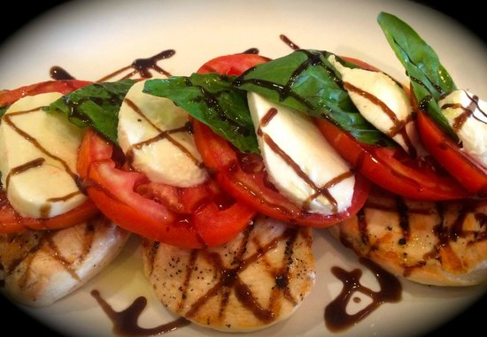 Rosedale Brick Oven: Grilled chicken breasts topped with a fresh caprese salad