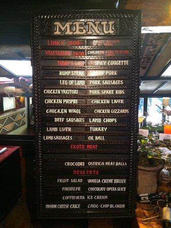 The Carnivore Restaurant: The menu Sept 2014