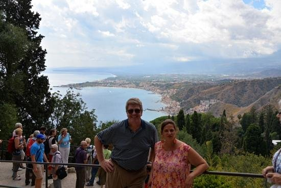 Taormina Tourist Service - Tours : Chaira and her pupil with the Bay of Naxos
