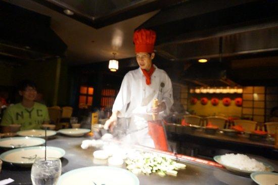 Benihana: Our Chef preparing our food.