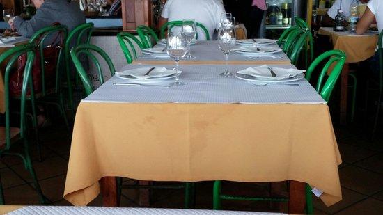Caldas da Rainha, Portugal: Toalhas porcas e cadeiras velhas