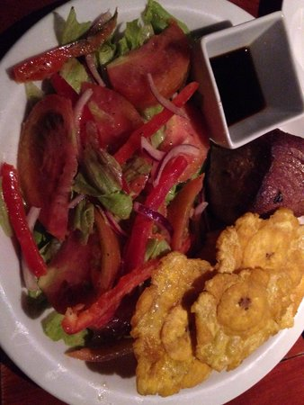 The Fish House: Grilled tuna with soy sauce,salad, and plantains