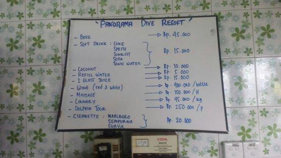 Panorama Diving Resort: Price list