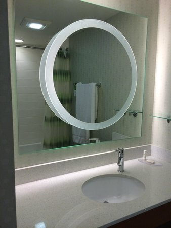 SpringHill Suites Huntsville Downtown: Circle is a magnification mirror. Never have seen this feature in a hotel.