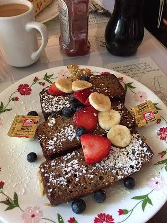 Peach's: Banana bread French toast topped with fresh fruits