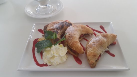 The Pavilion by the pier: crossiants w/strawberries n cream