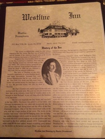 Westline, Pennsylvanie : Their story on the front of the menu