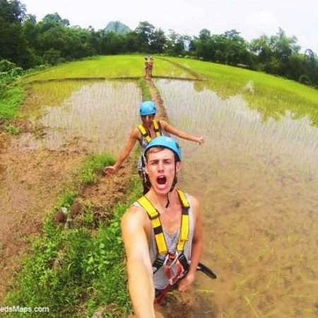 Tham Phu Kham Cave and Blue Lagoon: Rice Paddy Walk Back To Blue Lagoon