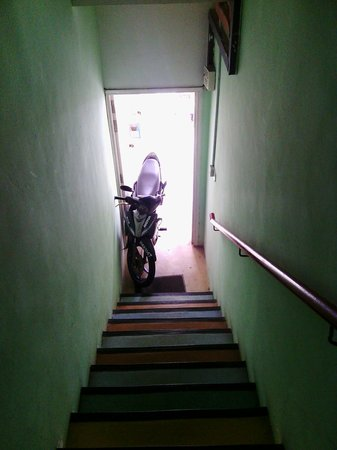 Lavender Guesthouse: Stairway leading to hostel note motorcycle