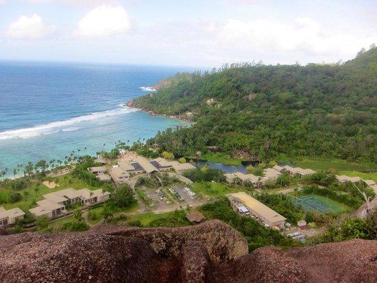 Kempinski Seychelles Resort : View from granite hills onto resort