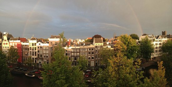 The Dylan: View of the Canal from our room windows, with rainbow.