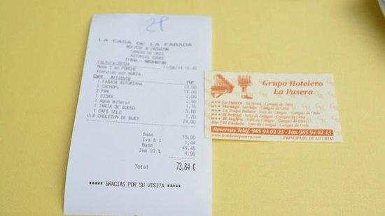 Restaurante La Casa de la Fabada: Cuenta para dos