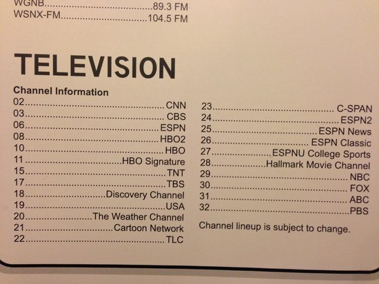 Clarion Inn & Suites Airport : Very limited TV selection; 3 channels were not functioning
