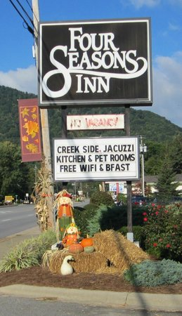 Seasonal decorations are plentiful at the Four Seasons Inn, Maggie Valley, NC