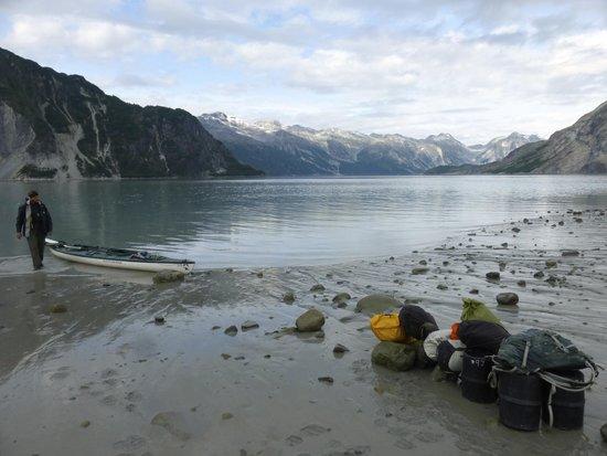 Glacier Bay Sea Kayaks - Day Tours: Loading our kayak - upper muir inlet