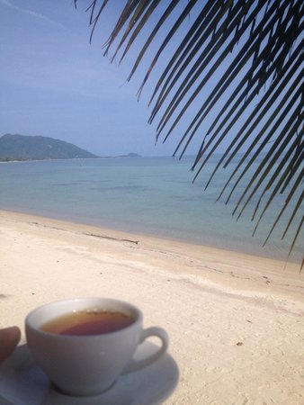 B52 Beach Resort: Complimentary tea and brownies with a perfect view.