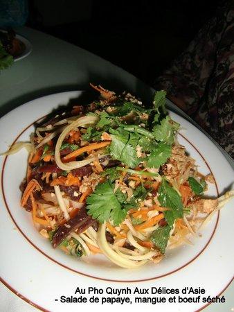 Pho Quynh : Salade Papaye, Mangue et Boeuf séché