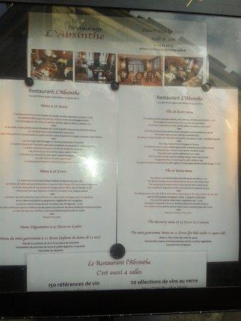 Restaurant l'Absinthe Cafe : La carte