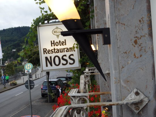 Hotel Noss: Hotel sign taken from the restaurant window