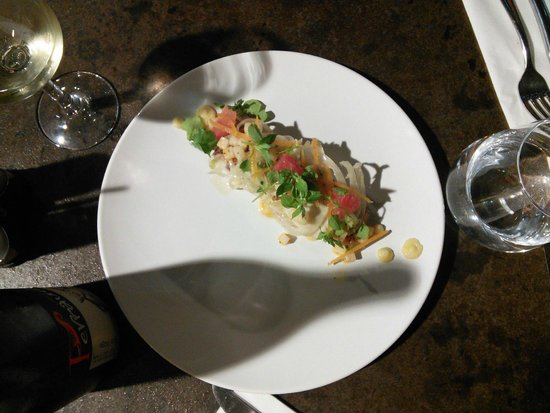 la maroquinerie : The marinated raw salmon with citrus fruits and salmon