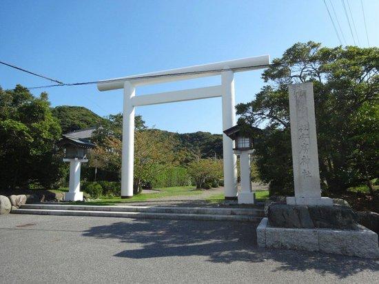 Awa Jinja: 安房神社、一の鳥居です。 珍しい形をしています。