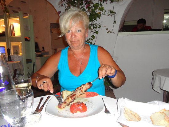 Dionysos: een lekkere kipbrochette (souvlaki!)