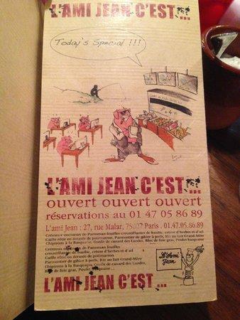L'Ami Jean: La carte nous donne le ton ;-)