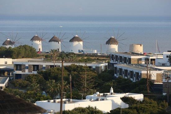 Ilio Maris Hotel: Les fameux moulins de Mykonos vus depuis l'hôtel le matin