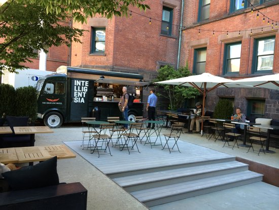The High Line Hotel: The wonderful front patio