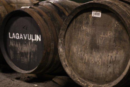 Lagavulin Distillery: Barrels in the warehouse.