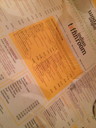 Indian Tiffin Room: A very interesting menu!