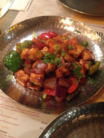 Indian Tiffin Room: Chilli paneer hot starter. Delicious with a little kick