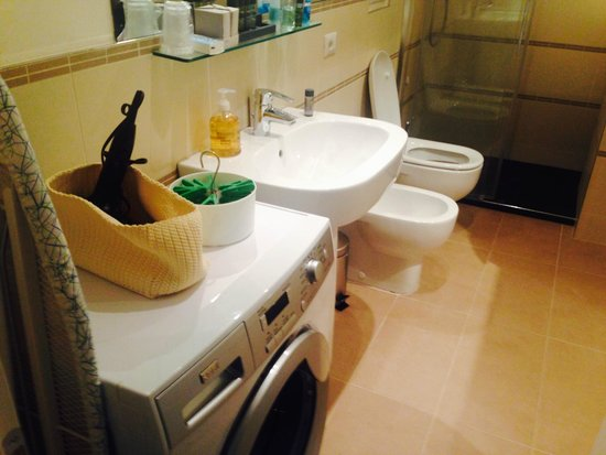 Belludi 37: Bathroom with hairdryer on top of washing machine