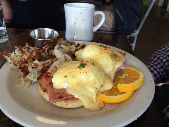 Bacon and Eggs: Eggs Benedict, perfectly prepared and beautifully presented.