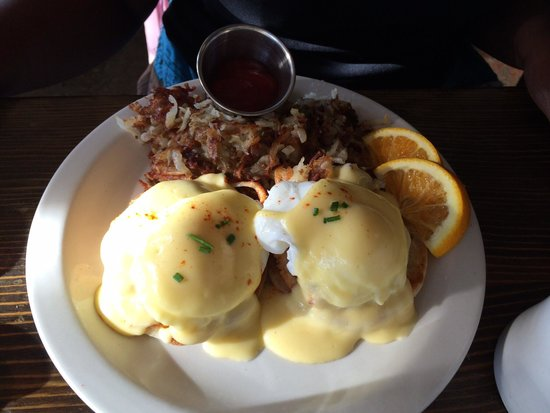Bacon and Eggs: Crab Cakes Benedict. Nothing short of heavenly.