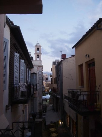 Hotel Morfeas : View of church tower/alley from our room
