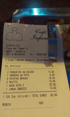 Cafe Infanta: Receipt with address, phone and prices