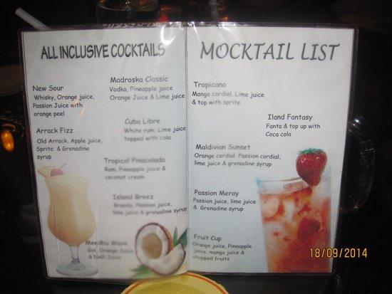 Meedhupparu Island : Cocktail List Meedhupparu