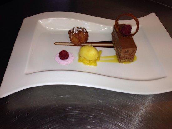 ... torte, orange curd filled doughnut, brandy snap ring, raspberry s