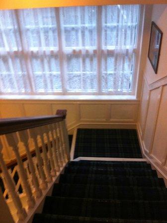 National Hotel Dingwall: Net curtains, shabby decor & dirty threadbare carpets throughout the hotel.