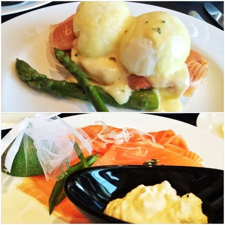 Four Seasons Hotel Beirut: Salmon eggs Benedict and salmon platter